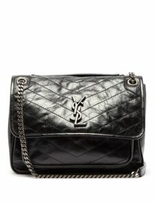 Saint Laurent - Niki Medium Quilted Crinkled Leather Shoulder Bag - Womens - Black