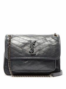 Saint Laurent - Niki Medium Quilted Crinkled Leather Shoulder Bag - Womens - Dark Grey