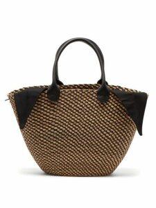Muuñ - Marlene Woven Straw And Cotton Basket Bag - Womens - Black