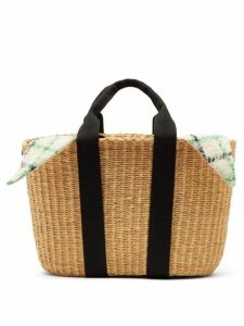 Muuñ - Caba Checked Mohair And Woven Straw Bag - Womens - Green Multi