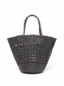Dragon Diffusion - Cannage Myra Woven Leather Basket Bag - Womens - Black