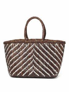 Dragon Diffusion - Kumari Zigzag Woven Leather Basket Bag - Womens - Brown Multi