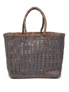 Dragon Diffusion - Cannage Lizard Bi Colour Woven Leather Bag - Womens - Brown Multi