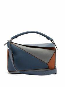 Loewe - Puzzle Medium Grained Leather Cross Body Bag - Womens - Blue Multi