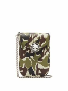 Miu Miu - Camouflage Print Mini Leather Cross Body Bag - Womens - Green Multi
