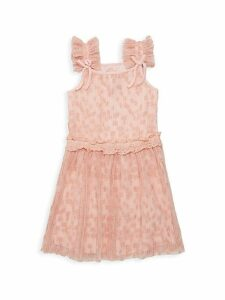 Little Girl's & Girl's Flocked Mesh Dress