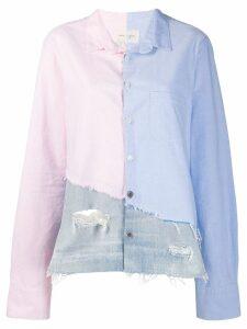 Greg Lauren patchwork shirt - Blue