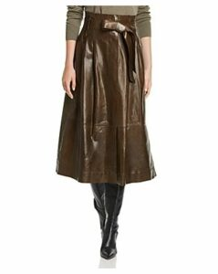 Lafayette 148 New York Cass Leather Midi Skirt