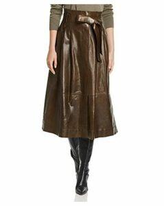 Lafayette 148 New York Cass Leather Midi Skirt