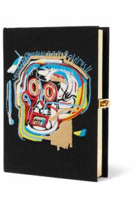 Olympia Le-Tan - Basquiat Skull Embroidered Appliquéd Canvas Clutch - Black