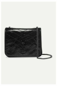 SAINT LAURENT - Niki Quilted Crinkled Glossed-leather Shoulder Bag - Black