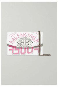 Balenciaga - Bb Printed Textured-leather Shoulder Bag - White