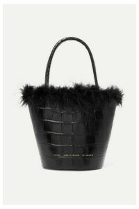 Chylak - Feather-trimmed Croc-effect Leather Tote - Black