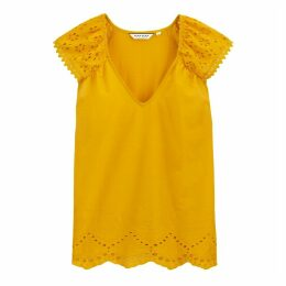 Cotton Mix V-Neck T-Shirt with Embroidered Short Sleeves