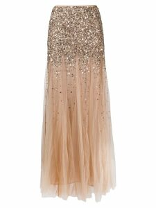 Blumarine sequin-trim tulle skirt - Neutrals