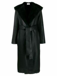 The Row hooded leather midi coat - Black