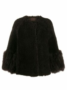 Prada shearling single-breasted coat - Brown