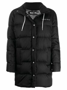 Miu Miu padded logo patch jacket - Black