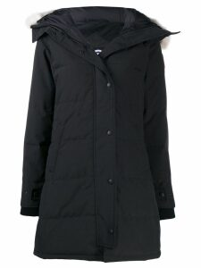 Canada Goose coyote fur hooded padded parka - Black