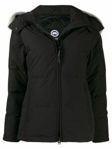 Canada Goose coyote fur hooded short coat - Black