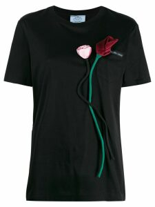 Prada rose appliqué T-shirt - Black