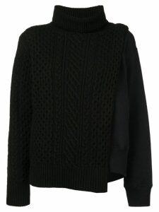 Sacai layered cable knit tabard sweatshirt - Black