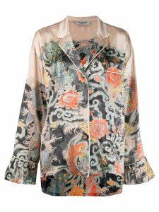 Valentino japanese print pajama shirt - Neutrals