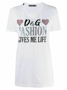 Dolce & Gabbana rhinestone embellished T-shirt - White