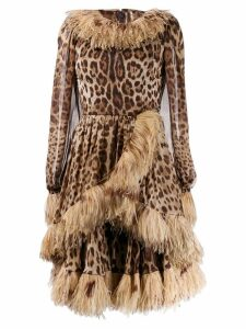 Dolce & Gabbana feather trim leopard-print dress - Brown