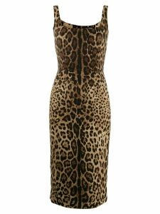 Dolce & Gabbana leopard print fitted dress - Black