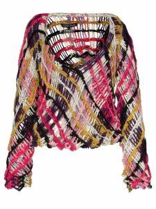 Susan Fang open knit wool jumper - Pink