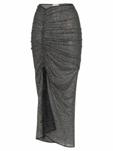 Oseree Shine ruched midi skirt - Black