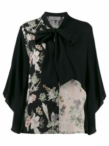 Pringle Of Scotland floral pussy bow top - Black