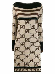 Alberta Ferretti knitted boat neck dress - Neutrals