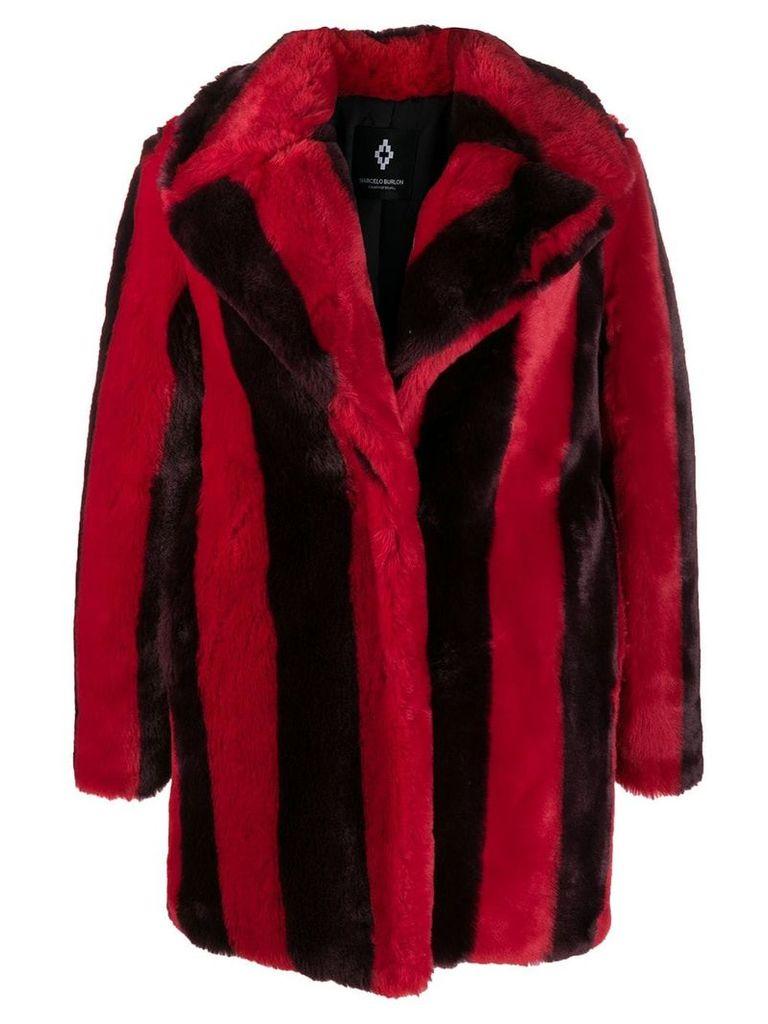 Marcelo Burlon County Of Milan striped faux-fur coat - Red