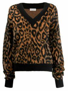 Sonia Rykiel leopard print jumper - Brown