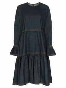 Valentino tiered denim midi-dress - Blue