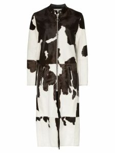 Marques'Almeida cow-print long coat - Black
