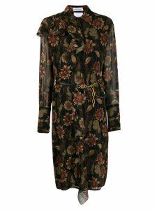 Salvatore Ferragamo silk crepe printed dress - Black