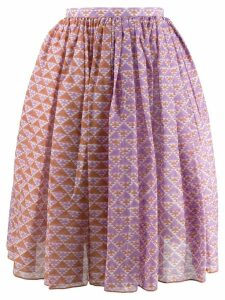 Thierry Colson printed gathered skirt - Brown