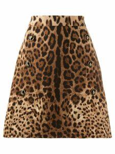Dolce & Gabbana leopard print A-line skirt - Neutrals