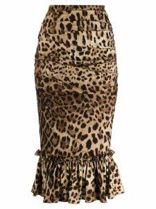 Dolce & Gabbana leopard-print ruffle skirt - Brown
