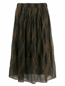 Brunello Cucinelli textured check midi skirt - Black