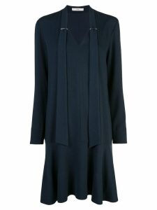 Tibi Savanna crepe tie neck dress - Blue