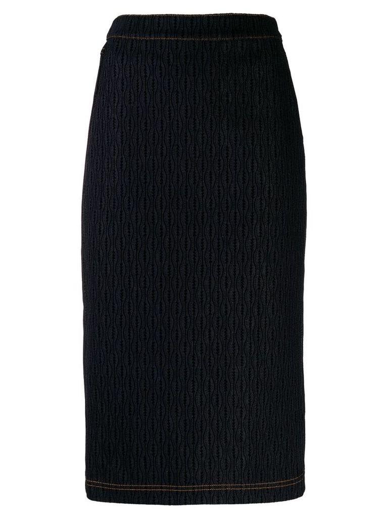 Fendi stitched pattern denim skirt - Blue