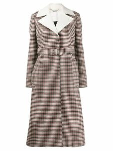 Chloé check belted buttoned coat - Red