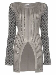 Chloé Horse jacquard jumper with split - Grey