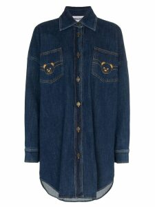 Moschino Teddy logo denim shirt-dress - Blue
