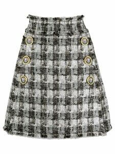Dolce & Gabbana checked A-line skirt - White
