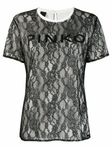Pinko floral lace T-shirt - Black